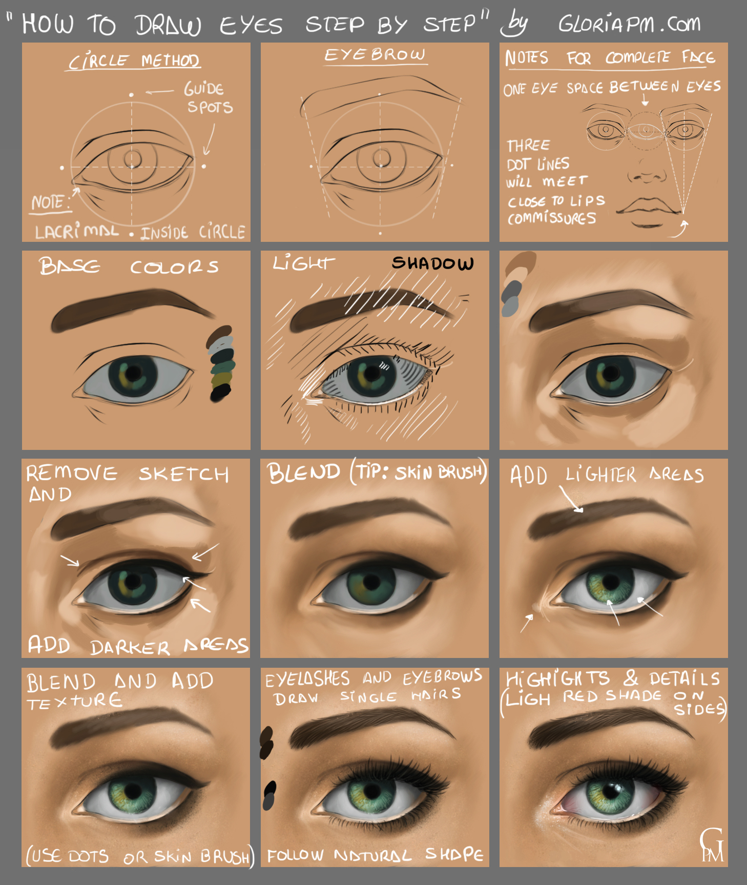 How To Draw Eyes Step By Step Gloriapm