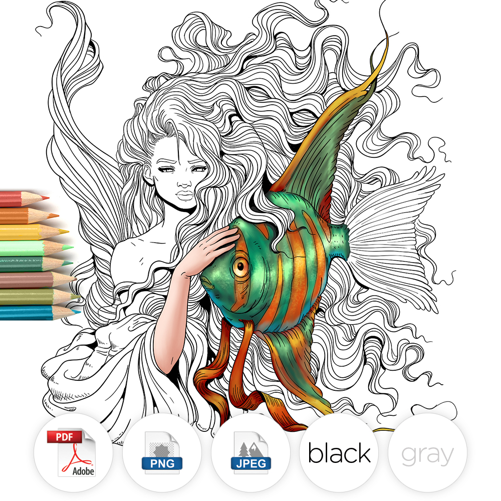 Mermaid and Fish Adult Coloring Page
