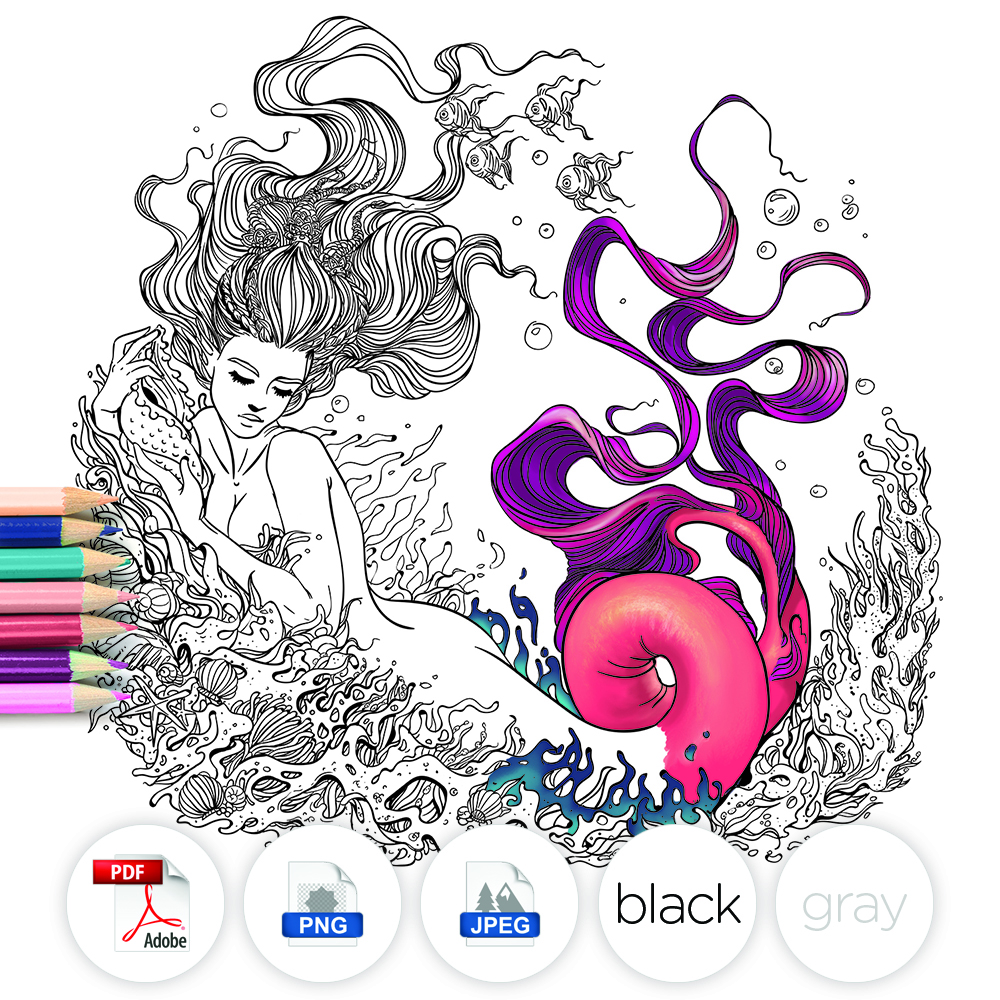 Mermaid Fantasy Adult coloring Page