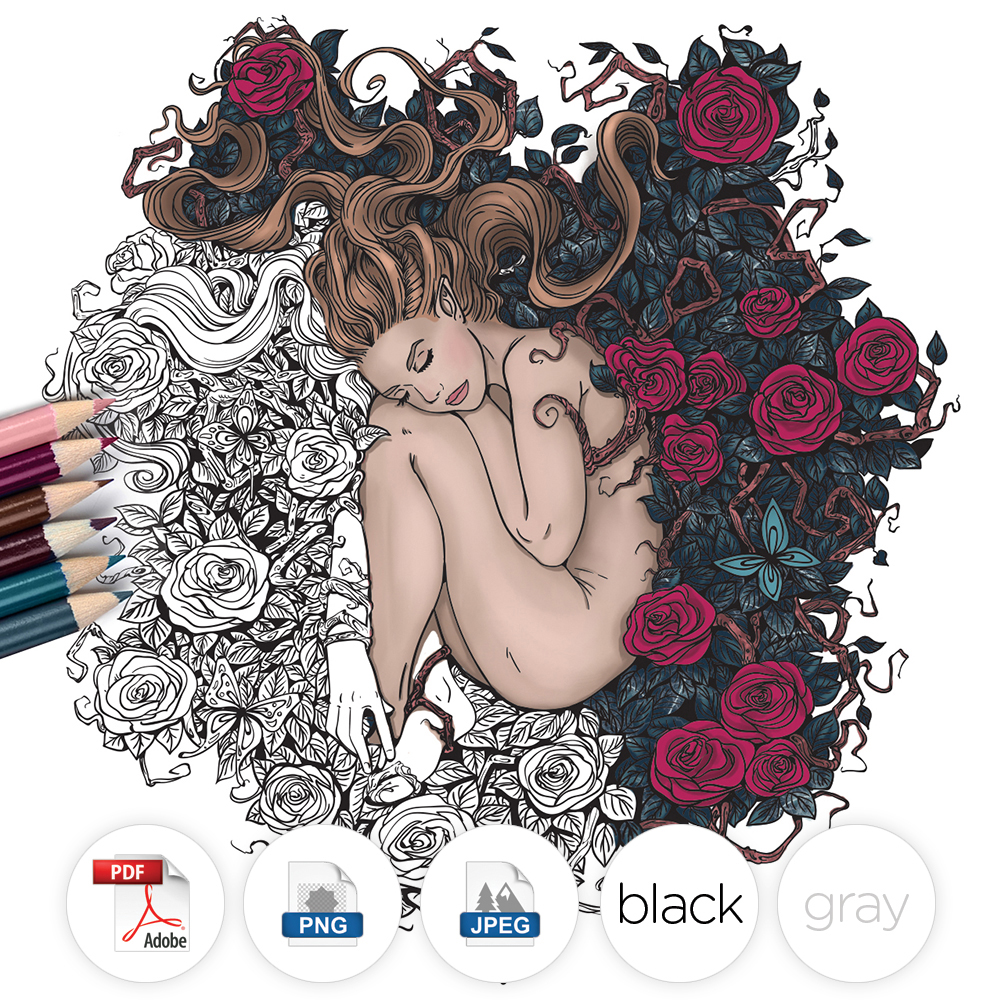 Adult coloring Fantasy roses
